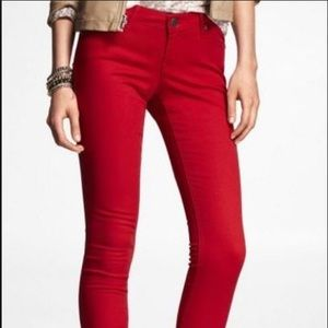 Express Low Rise Red Jean Leggings